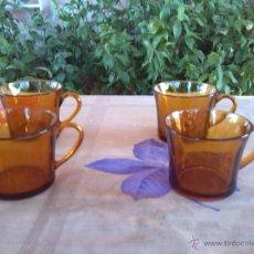 Antigüedades: ANTIGUO JUEGO DE CAFE DURALEX EN COLOR AMBAR. Lote 43042833