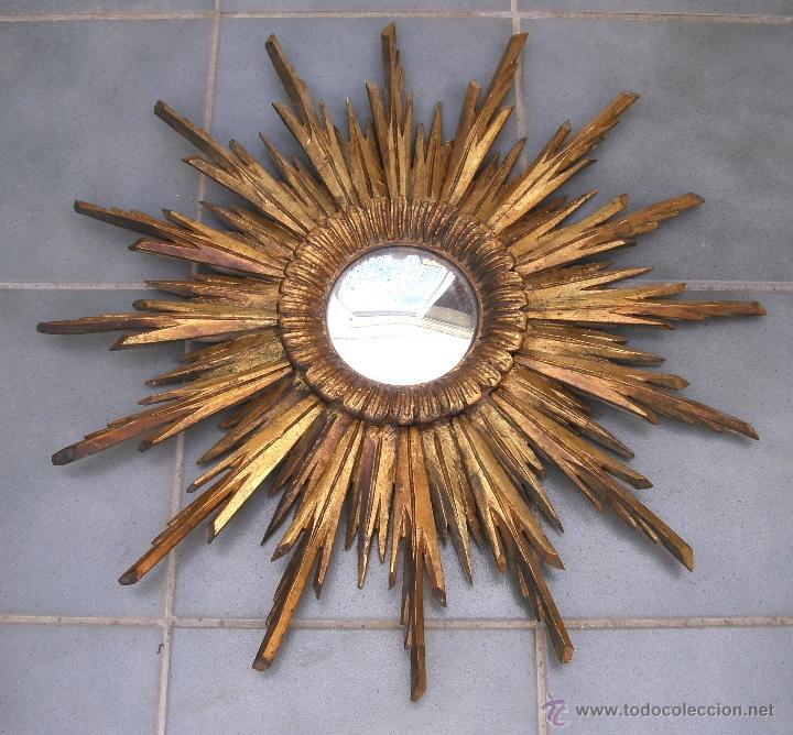 Espectacular espejo de madera en forma de sol vendido for Espejos decorativos con forma de sol
