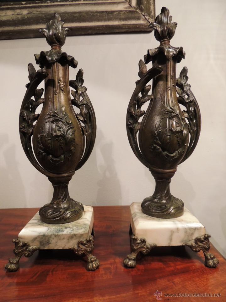Antigüedades: PAREJA DE COPAS O CAZOLETTES DE CALAMINA SOBRE MARMOL CON UN AIRE MODERNISTA - Foto 2 - 43073821