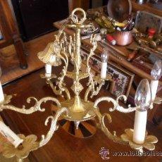 Antigüedades: LÁMPARA DE BRONCE DE 6 BRAZOS ANTIGUA. Lote 43079675