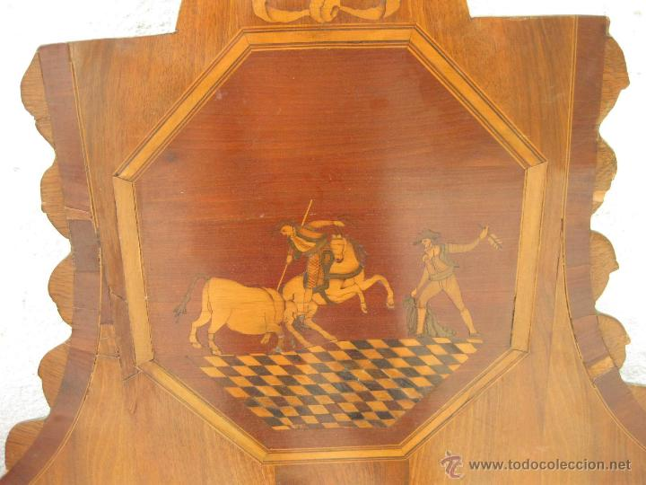 Antigüedades: CABECERO ANTIGUO DE CAMA CON MARQUETERIA Y ESCENA TAURINA - Foto 2 - 43083644