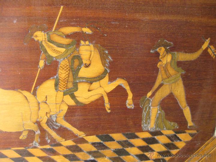 Antigüedades: CABECERO ANTIGUO DE CAMA CON MARQUETERIA Y ESCENA TAURINA - Foto 13 - 43083644