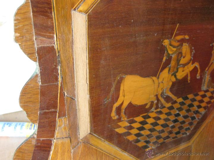 Antigüedades: CABECERO ANTIGUO DE CAMA CON MARQUETERIA Y ESCENA TAURINA - Foto 15 - 43083644