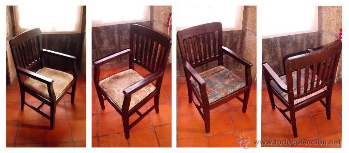 PAREJA DE SILLAS DE OFICINA ANTIGUA·MADERA DE CASTAÑO (Antigüedades - Muebles Antiguos - Sillas Antiguas)