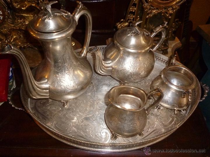 Antigüedades: JUEGO DE TÉ PLATA INGLESA - Foto 4 - 43089446