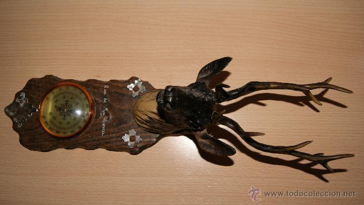 Antigüedades: Cabeza de ciervo y termómetro Recuerdo de la Alberca - Foto 2 - 43112841