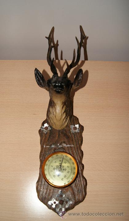 Antigüedades: Cabeza de ciervo y termómetro Recuerdo de la Alberca - Foto 6 - 43112841