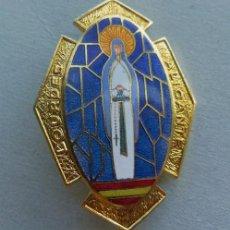 Antigüedades: MUY BUENA MEDALLA RELIGIOSA - ESMALTADA -CON AGUJA -BROCHE LOURDES ALICANTE. Lote 43120565