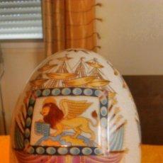 Antigüedades: PRECIOSO Y ENORME HUEVO DE PORCELANA,JOYERO. CON DIBUJOS MARÍTIMOS Y MÍTICOS.. Lote 43121879