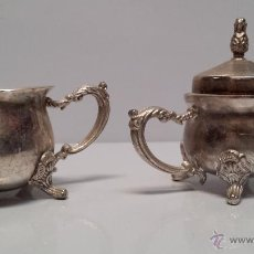 Antigüedades: ANTIGUO AZUCARERO Y LECHERA DE ALPACA - ENVÍO GRATIS A ESPAÑA. Lote 51053066