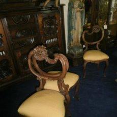 Antigüedades: PAREJA DE SILLAS NOGAL. Lote 43144375