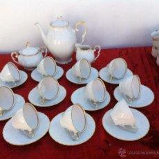 Antigüedades: JUEGO ANTIGUO DE CAFE EN PORCELANA DE BAVARIA SELLADO. Lote 43144482