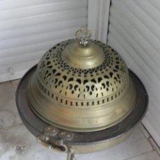 Antigüedades: VENDO BRASERO ANTIGUO CON PIE, COPA Y CORONA. (VER MÁS FOTOS É INFORMACIÓN EN EL INTERIOR).. Lote 43170854