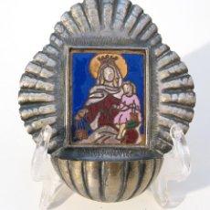 Antigüedades: ANTIGUA BENDITERA EN METAL PLATEADO CON UN BONITO ESMALTE Y FORMA DE CONCHA.. Lote 43186158