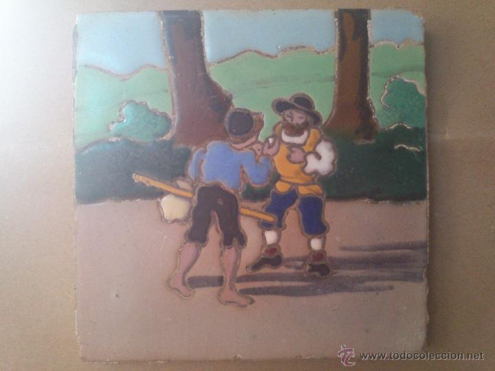 AZULEJO DE RAMOS REJANO DEL QUIJOTE (Antigüedades - Porcelanas y Cerámicas - Azulejos)