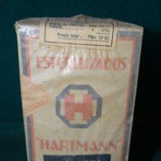 Antigüedades: ESTERILIZADOS HARTMANN - INDUSTRIAS SANITARIAS - BARCELONA - CAJA CON FRASCO CRISTAL LLENO -. Lote 43236815