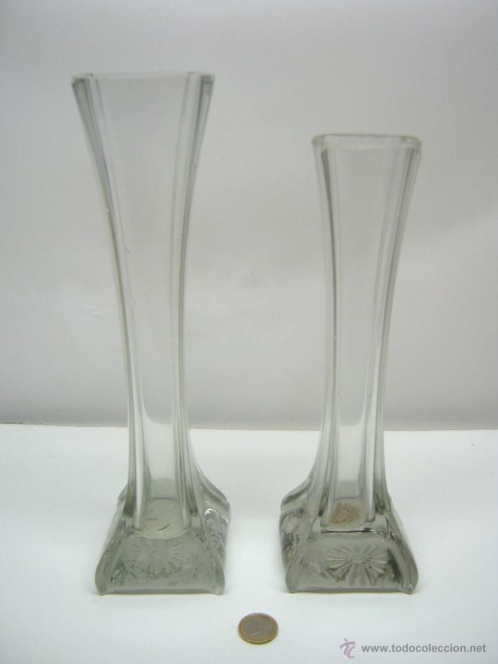 antiguos jarrones floreros altos cristal modernistas antigedades cristal y vidrio