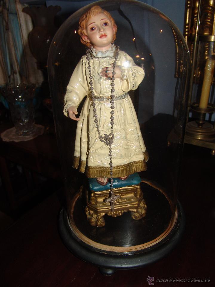 FANAL ANTIGUO DE CRISTAL Y PEANA DE MADERA (Antigüedades - Cristal y Vidrio - Otros)