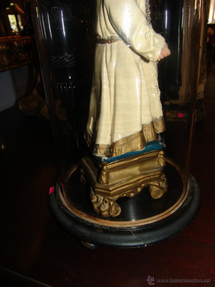 Antigüedades: FANAL ANTIGUO DE CRISTAL Y PEANA DE MADERA - Foto 2 - 43239357