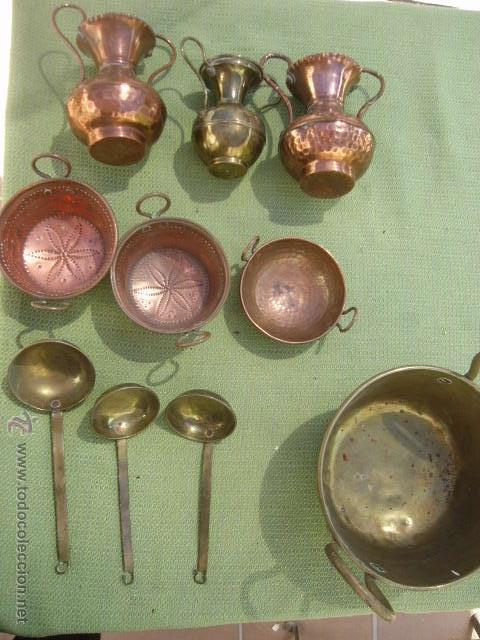 lote 10 utensilios miniatura de cocina de cobre - Comprar ...