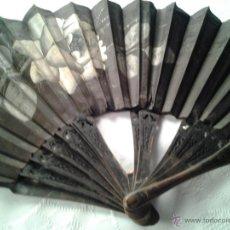 Antigüedades: ABANICO PERICÓN VARILLAS EBANO NEGRO, PAIS PINTADO A MANO MEDIDAS 60 CMS PARA RESTAURAR. Lote 43240922