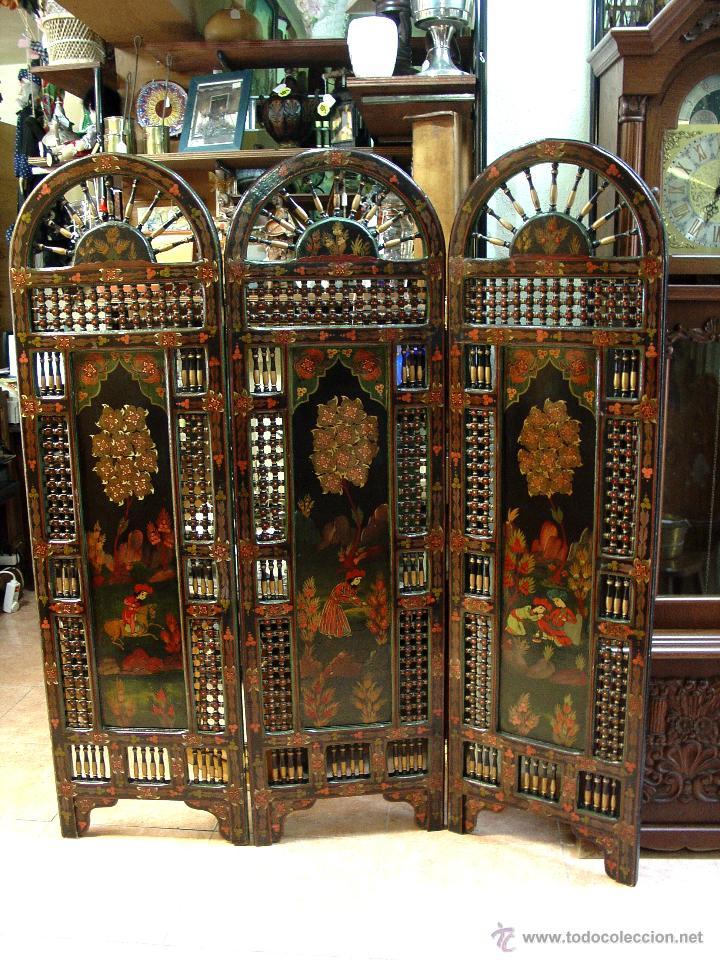 Magnifico biombo oriental en madera tallada de comprar muebles auxiliares antiguos en - Biombos chinos antiguos ...
