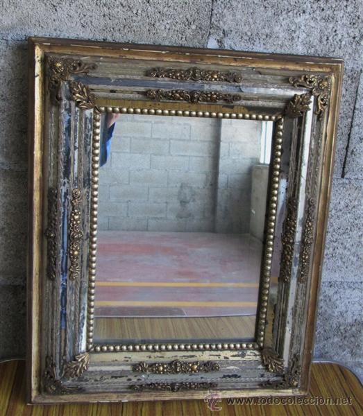 Antiguo espejo marco de madera con latones comprar espejos antiguos en todocoleccion 43256936 - Marcos espejos antiguos ...