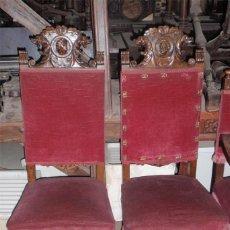 Antigüedades: 2 SILLAS ANTIGUAS DE ROBLE, ESTILO RENACIMIENTO. TALLADAS, ROSTROS.. Lote 43263039