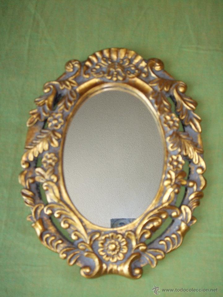 Precioso espejo cornucopia ovalado marco en oro comprar for Molduras para espejos online