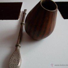 Antigüedades: COPA PARA BEBER MATE DE CALABAZA Y PLATA . Lote 43276975