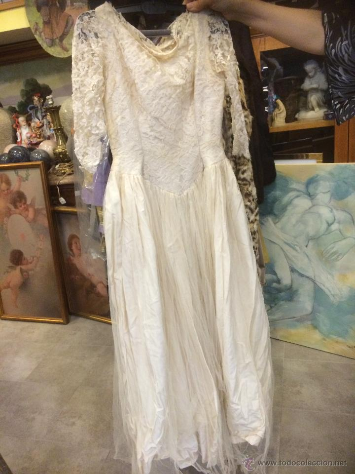 precioso vestido de novia antiguo, encaje seda - vendido en venta