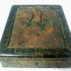 Antigüedades: ANTIGUA CAJA EN PIEL REPUJADA CIRCA 1900. Lote 43287769