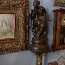 Antigüedades: ESPECTACULAR PAREJA DE COLUMNAS DE MÁRMOL Y BRONCE. Lote 43288735