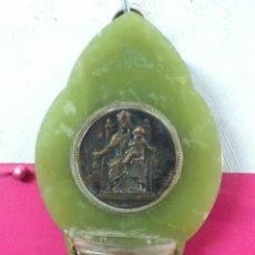 Antigüedades: ANTIGUA BENDITERA SANTIGUERA EN MARMOL, METAL Y CRISTAL . Lote 43313650