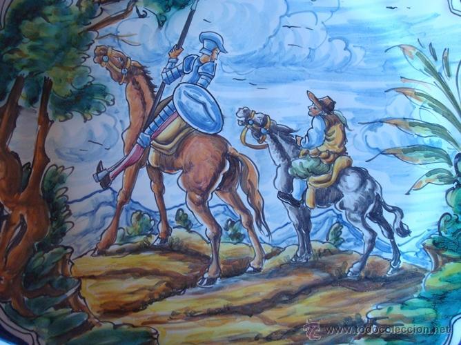 Antigüedades: PLATO DE CERÁMICA TALAVERA CON MOTIVO DEL QUIJOTE Y SANCHO PANZA - Foto 2 - 43318522