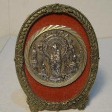 Antigüedades: MEDALLA O MEDALLA DE LA VIRGEN DEL PILAR ENMARCADO.. Lote 43345059