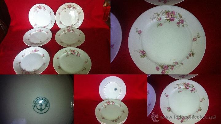 Vajilla, 6 platos PICKMAN S.A. SEVILLA, LLANOS shabby chic sello verde de los años 40 segunda mano