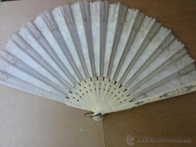 Antigüedades: abanico XIX hueso y puntillas - Foto 3 - 43364018