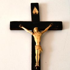 Antigüedades: ANTIGUO CRISTO MARFIL * HUESO SOBRE CRUZ * CRUCIFIJO. Lote 43365629