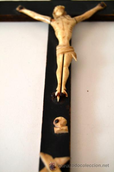 Antigüedades: ANTIGUO CRISTO MARFIL * HUESO SOBRE CRUZ * CRUCIFIJO - Foto 2 - 43365629