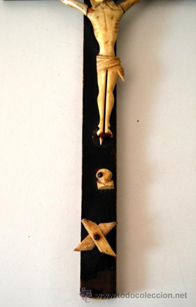Antigüedades: ANTIGUO CRISTO MARFIL * HUESO SOBRE CRUZ * CRUCIFIJO - Foto 3 - 43365629