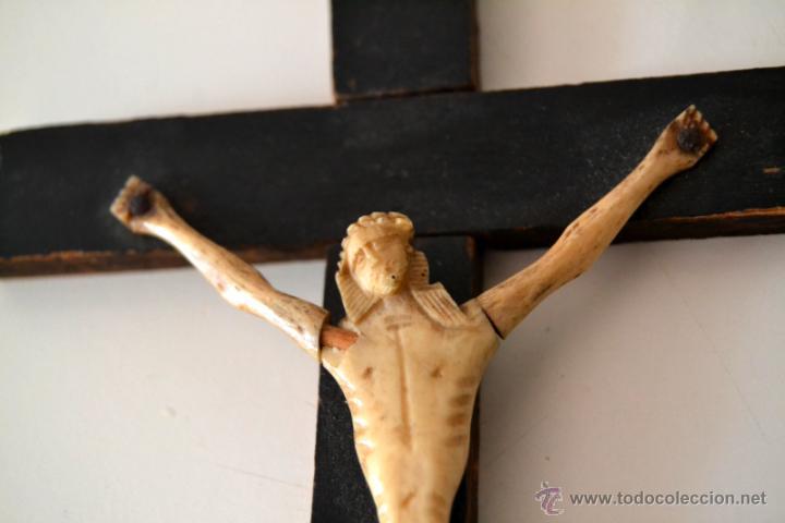 Antigüedades: ANTIGUO CRISTO MARFIL * HUESO SOBRE CRUZ * CRUCIFIJO - Foto 4 - 43365629