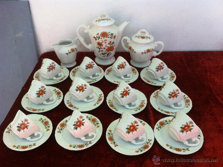 JUEGO ANTIGUO DE CAFE EN SEMIPORCELANA DE SARREGUEMINES SELLADO MOULIN DE LOUPS (Antigüedades - Porcelana y Cerámica - Francesa - Limoges)