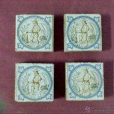 Antigüedades: 4 BALDOSAS AZULEJOS OLAMBRILLAS CAZADOR. Lote 43390247
