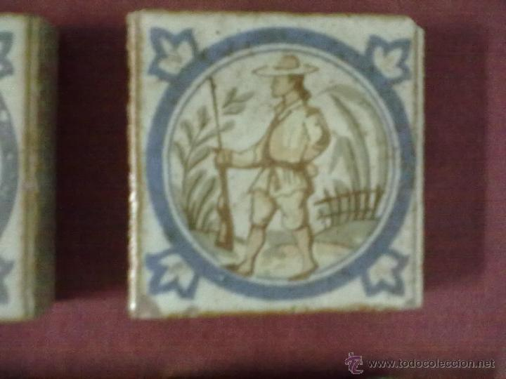 Antigüedades: 4 BALDOSAS AZULEJOS OLAMBRILLAS CAZADOR - Foto 2 - 43390247
