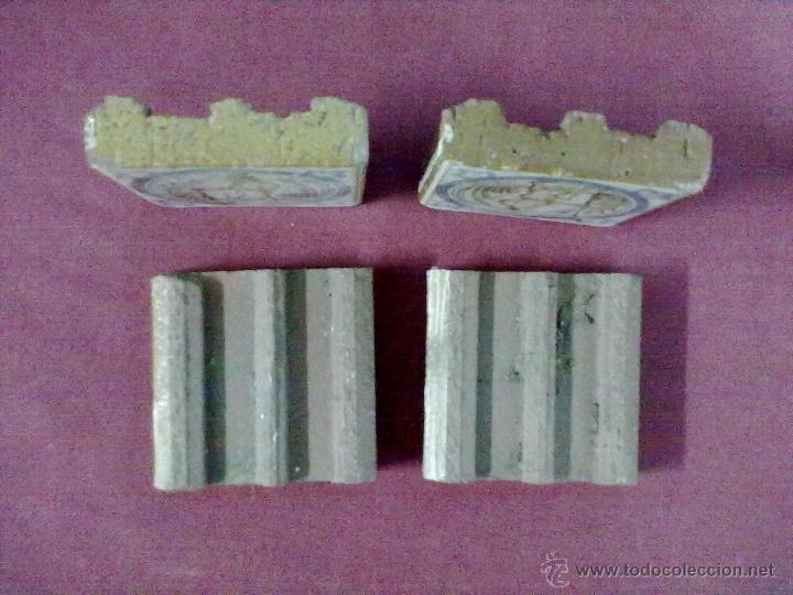 Antigüedades: 4 BALDOSAS AZULEJOS OLAMBRILLAS CAZADOR - Foto 3 - 43390247