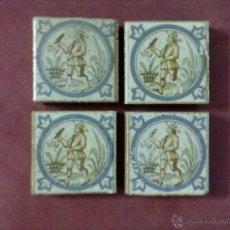 Antigüedades: 4 BALDOSAS AZULEJOS OLAMBRILLAS ORNITOLOGO NATURALISTA. Lote 43390501