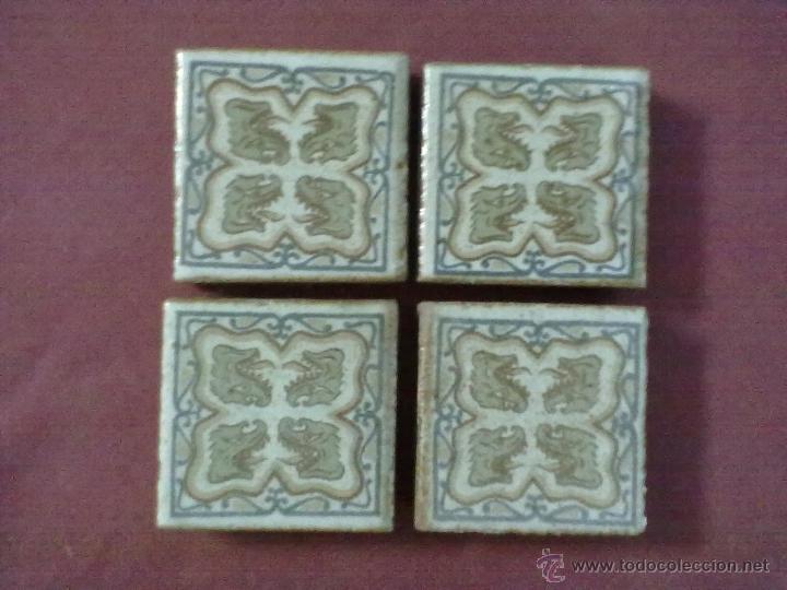 4 BALDOSAS AZULEJOS OLAMBRILLAS SER FANTASTICO DRAGON (Antigüedades - Porcelanas y Cerámicas - Azulejos)