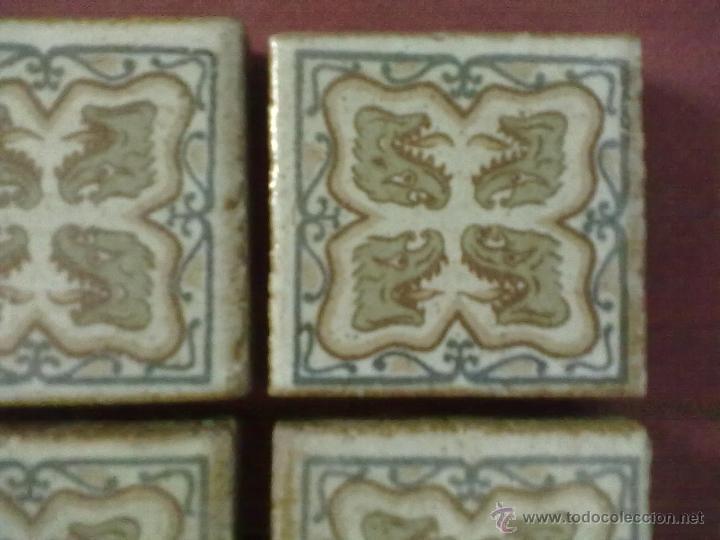 Antigüedades: 4 BALDOSAS AZULEJOS OLAMBRILLAS SER FANTASTICO DRAGON - Foto 2 - 43390548