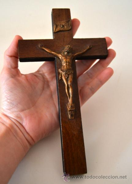 Antigüedades: CRUZ * CRISTO * CRUCIFIJO DE MADERA Y METAL - Foto 4 - 43401694